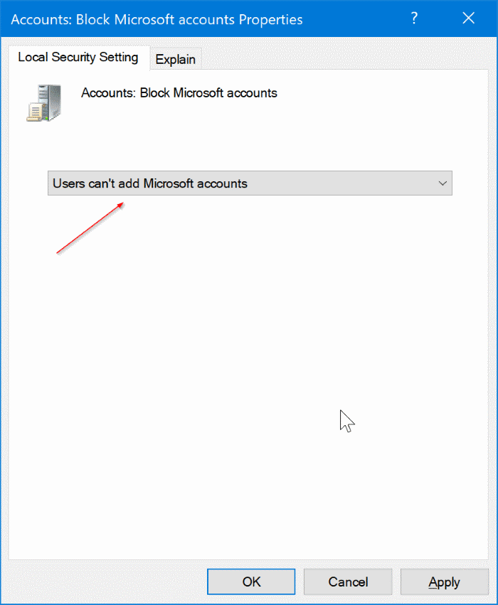 disable or block Microsoft accounts in Windows 10 pic2