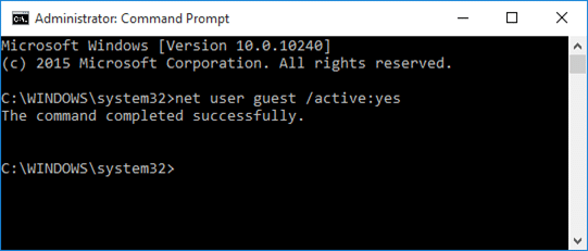 enable guest account in Windows 10 step4