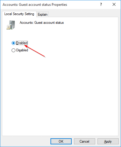 windows 10 guest user enable
