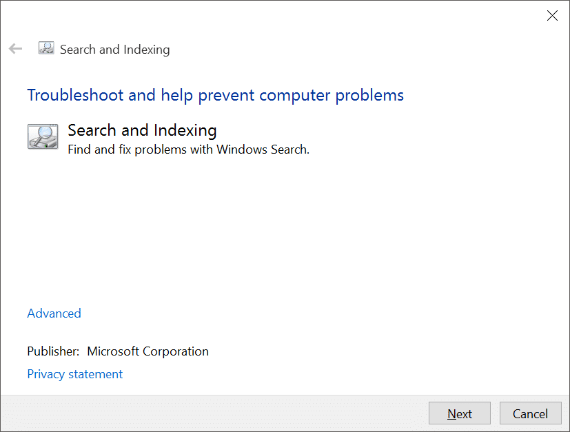 fix Windows 10 search issues by rebuilding index pic10