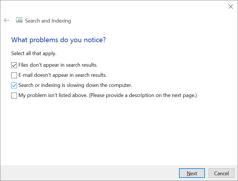 fix Windows 10 search issues by rebuilding index pic11