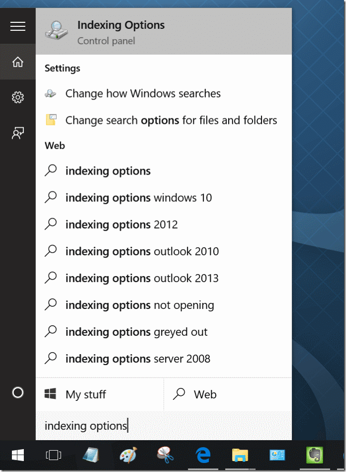 fix Windows 10 search issues by rebuilding index pic2