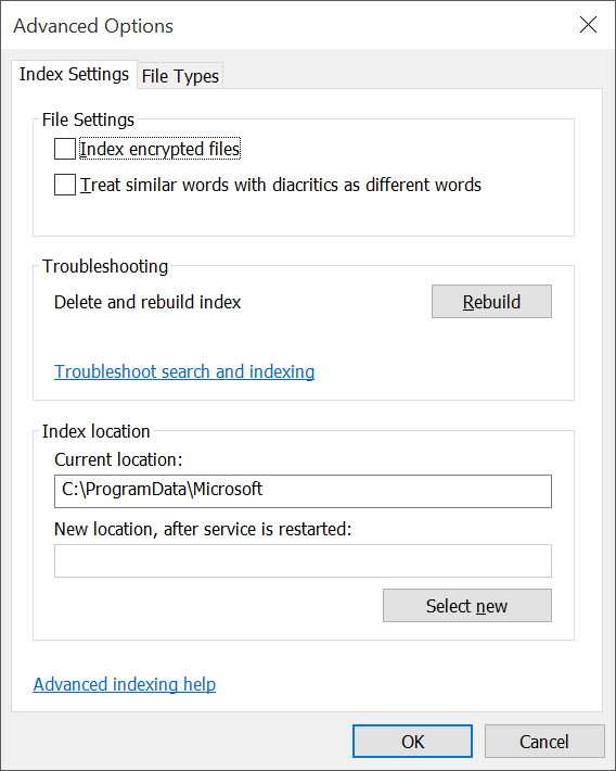 fix Windows 10 search issues by rebuilding index pic5