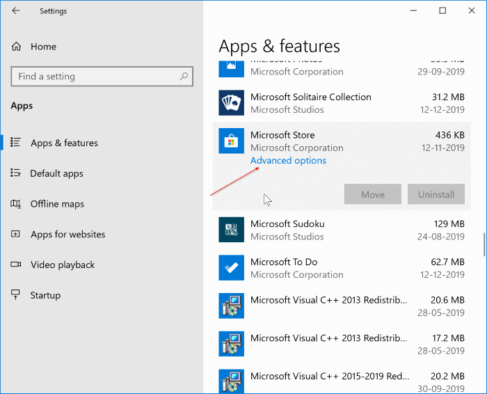 fix to store app not working in Windows 10 pic1
