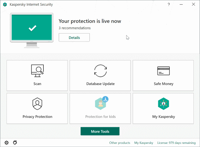 kaspersky internet security for Windows 10 pic1