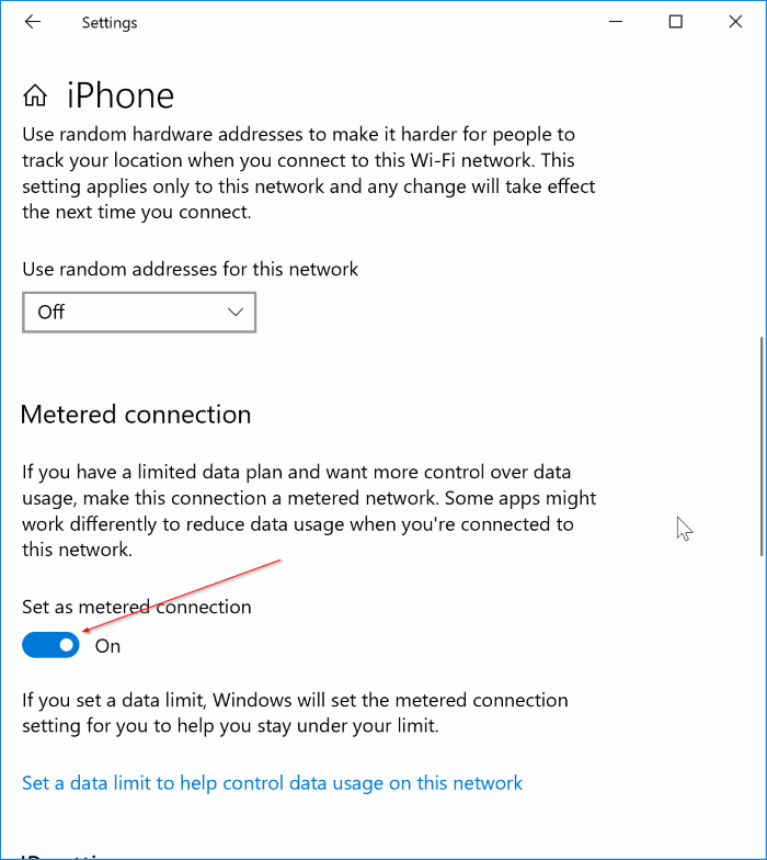 set Wi-Fi network as metered connection in Windows 10 pic3