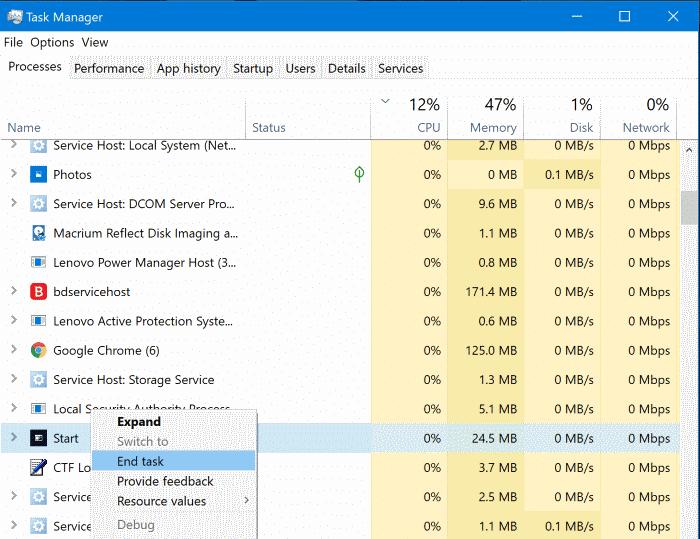 start menu not working in Windows 10 pic2