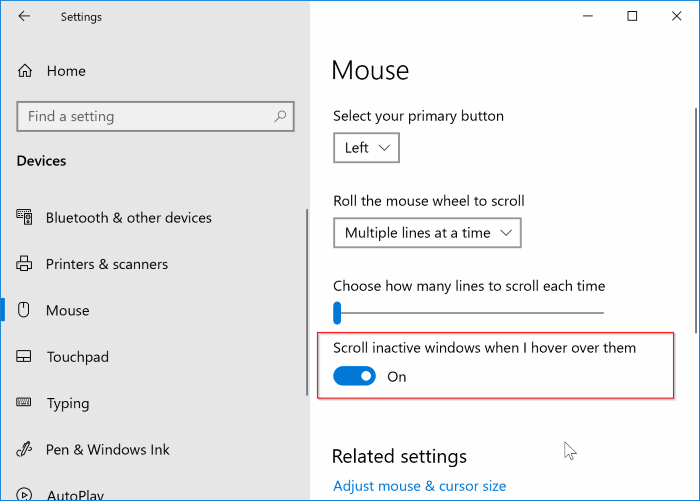 turn on or off inactive window scrolling feature in Windows 10 pic3