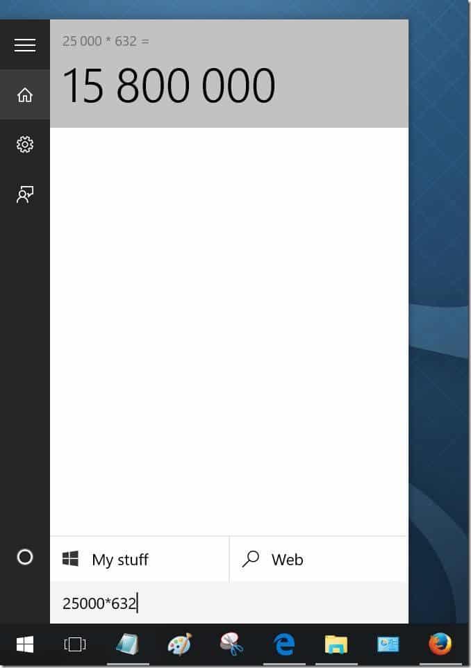 use Start menu search as calculator in Windows 10 pic1