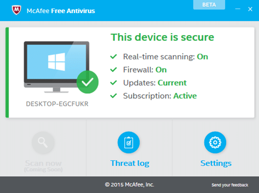 McAfee Free antivirus for Windows 10