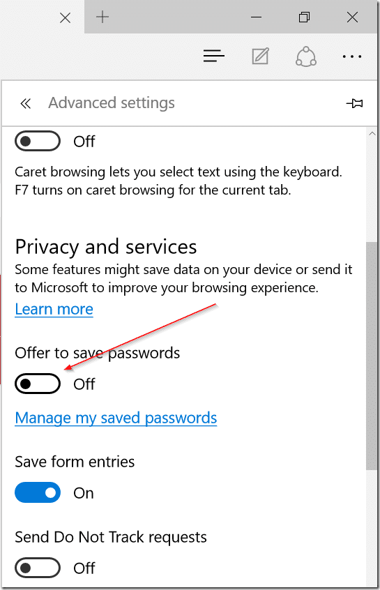 Stop Edge from asking to remember passwords pic3