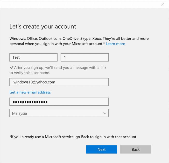 how to use gmail or yahoo  mail to create microsoft account on windows 10