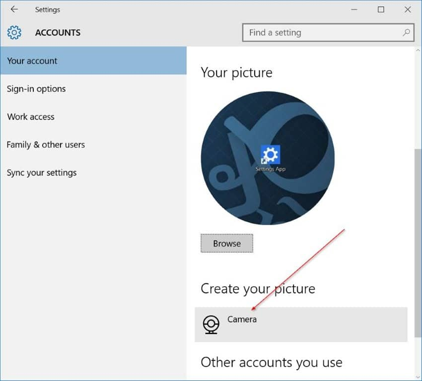 how to change user account photo in windows 10