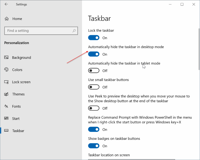 automatically hide the Windows 10 taskbar pic1