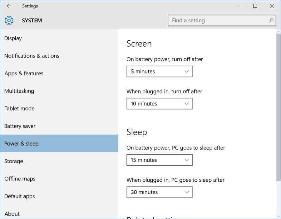 enable or disable sleep mode in Windows 10 pic3
