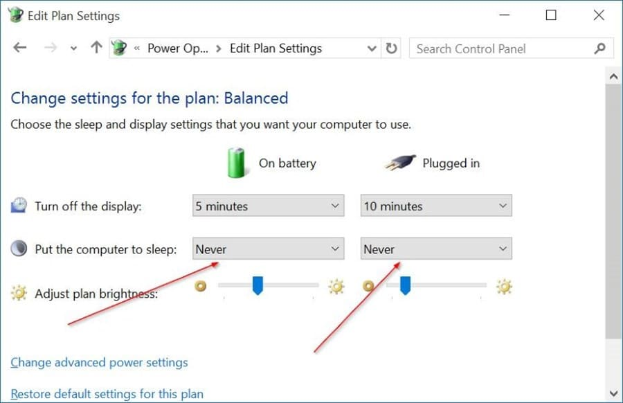 enable or disable sleep mode in Windows 10 pic8