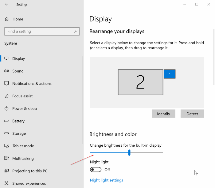 adjust the screen brightness in Windows 10 pic2