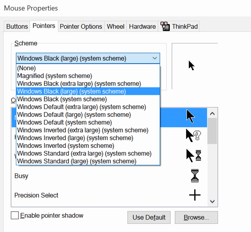 Change mouse pointer size and color In Windows 10 step5.1