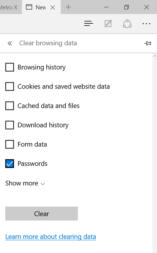 Delete passwords saved in Edge browser Windows 10 step3
