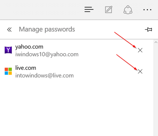Delete passwords saved in Edge browser Windows 10 step6