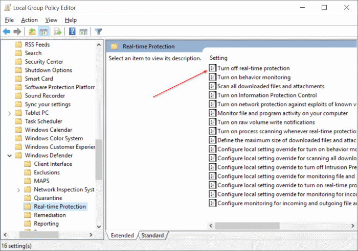 Enable or disable Windows Defender real time protection Windows 10 pic2