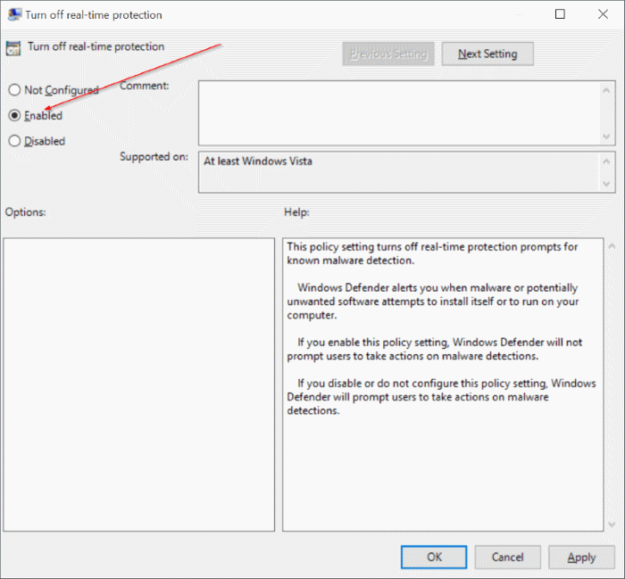 Enable or disable Windows Defender real time protection Windows 10 pic3