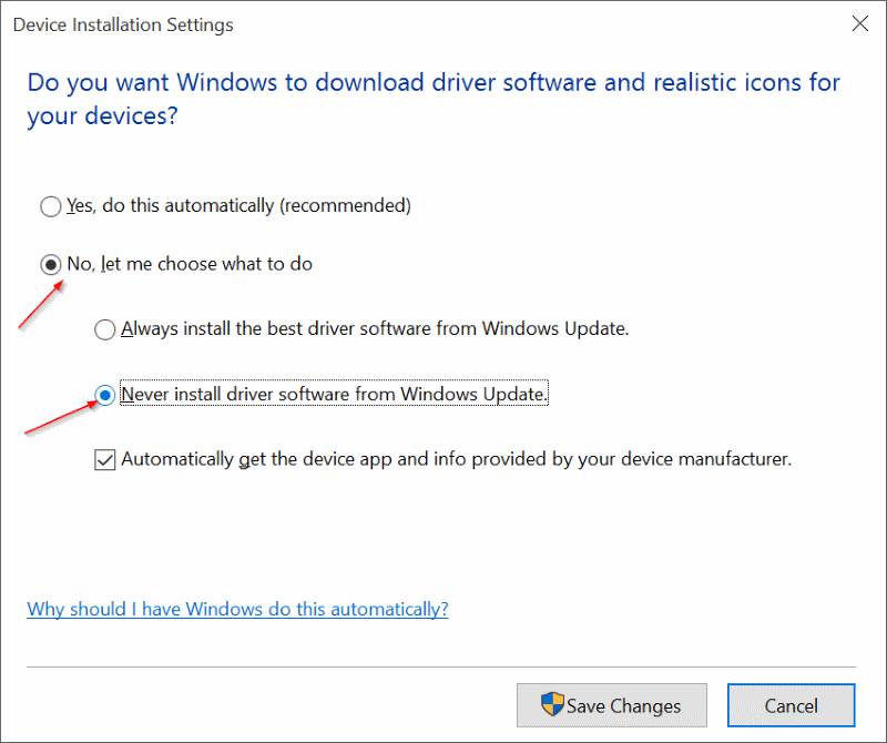 Enable or disable automatic device driver update In Windows 10 step4
