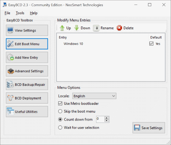 Enable or disable graphical boot options menu in Windows 10