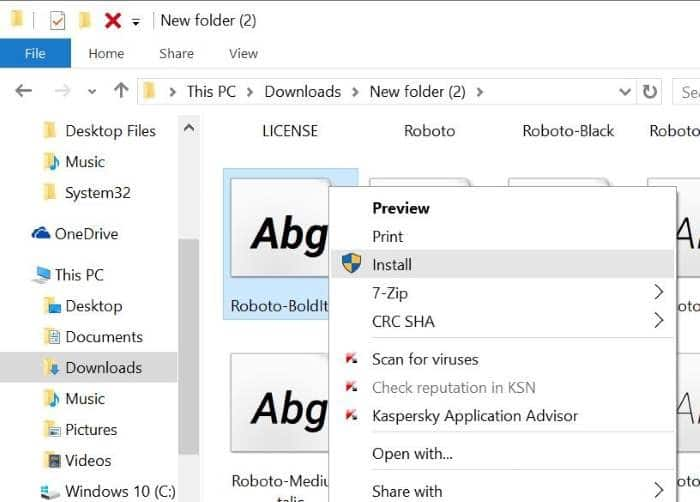 Install fonts in Windows 10 pic2