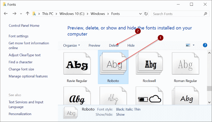 Install fonts in Windows 10 pic4
