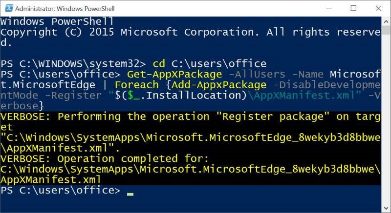 Reinstall Microsoft Edge In Windows 10 step10