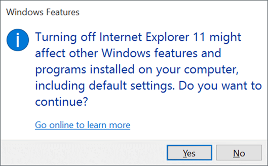 Remove Internet Explorer from Windows 10 pic1