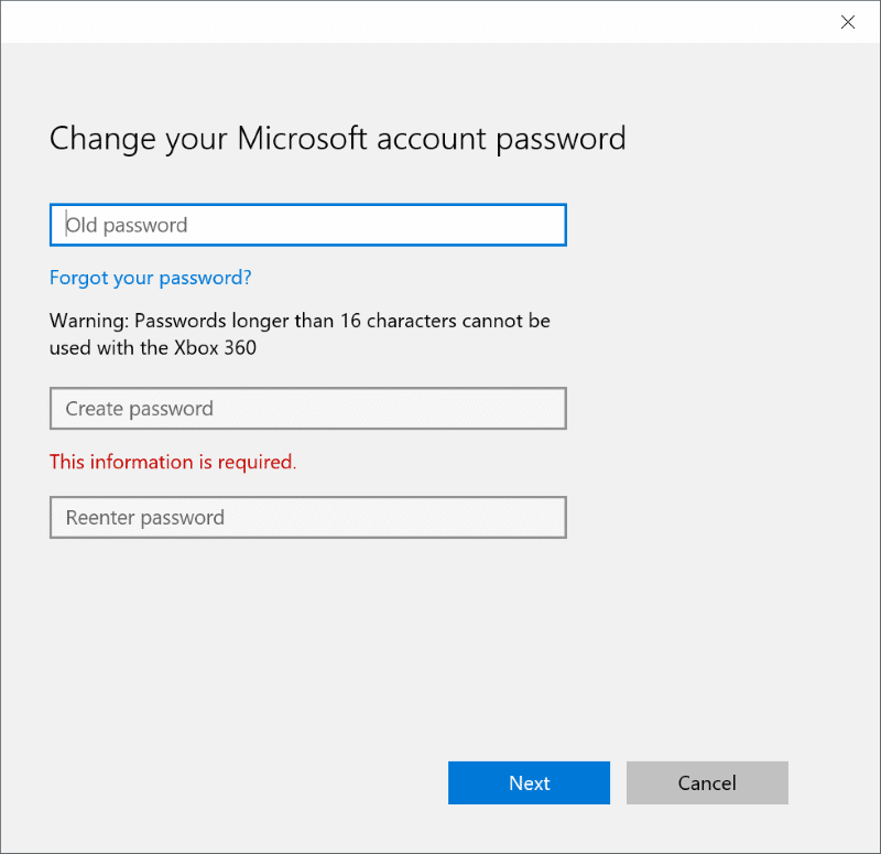 Reset or change Microsoft account password Windows 10 pic4