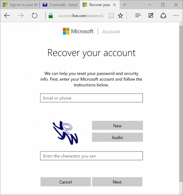 Recover and reset your lost Microsoft account password