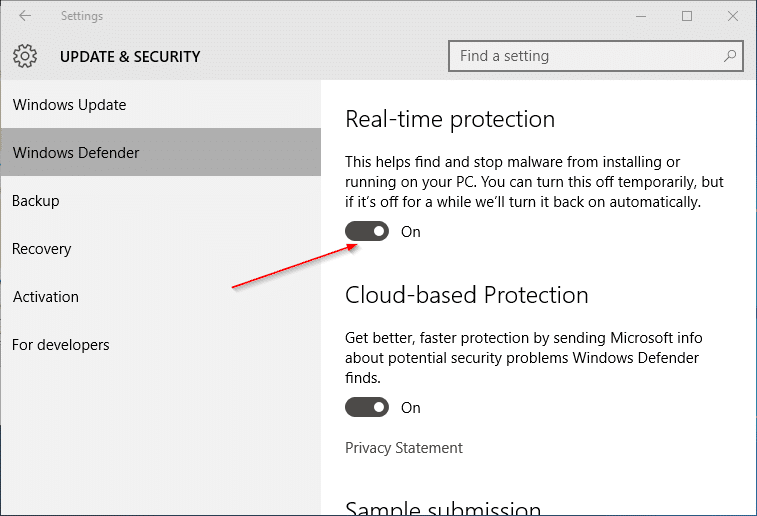 Turn on or off Windows Defender Real time protection in Windows 10 pic3