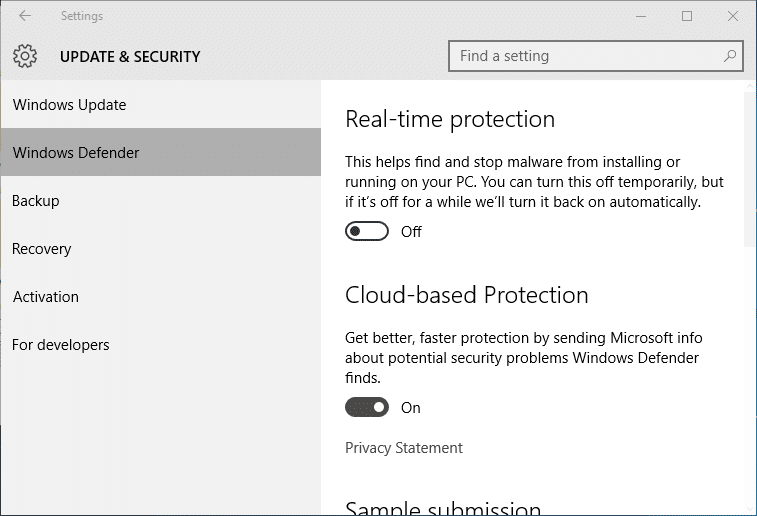 Turn on or off Windows Defender Real time protection in Windows 10 pic4