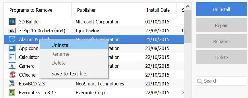 Uninstall Preinstalled Windows 10 apps CCelaner