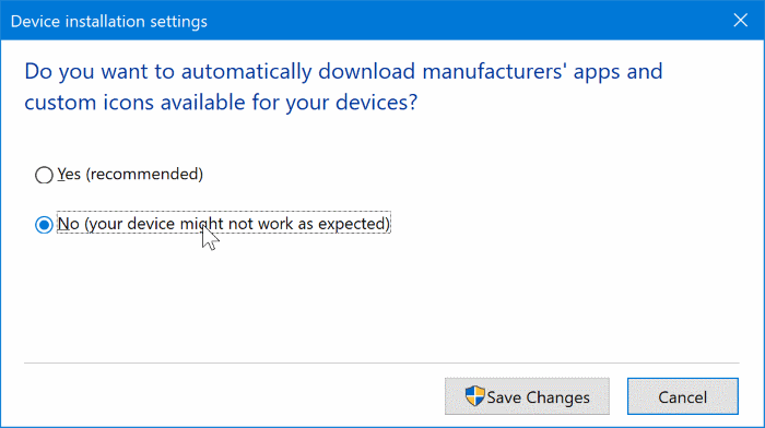 disable automatic driver updates in Windows 10 pic1