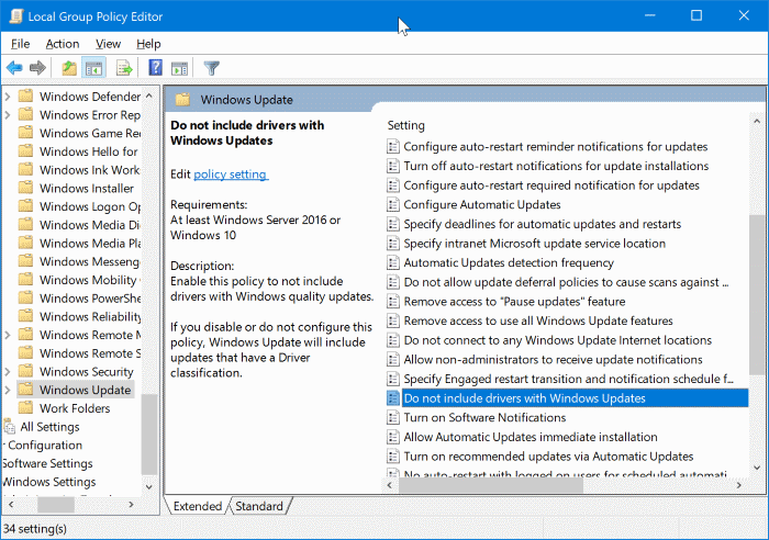disable automatic driver updates in Windows 10 pic2