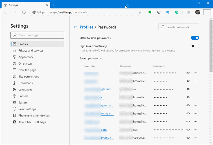 view passwords saved in Edge in Windows 10