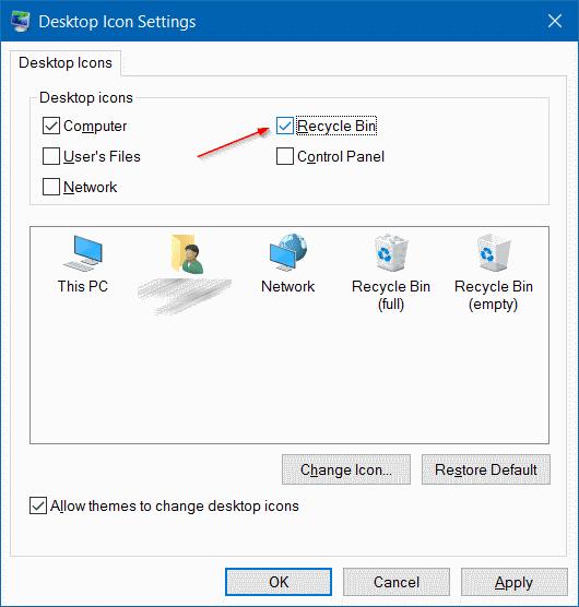 Add Recycle Bin icon to Windows 10 Desktop Step3