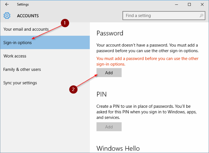 Add password to local user account in Windows 10 step3