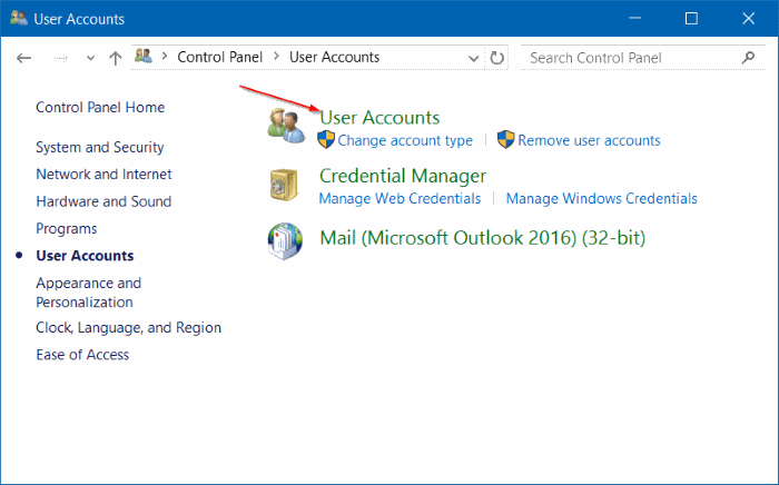remove password from user account windows 10