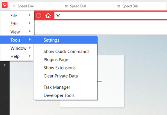 Change Vivaldi new tab page or start page background step1
