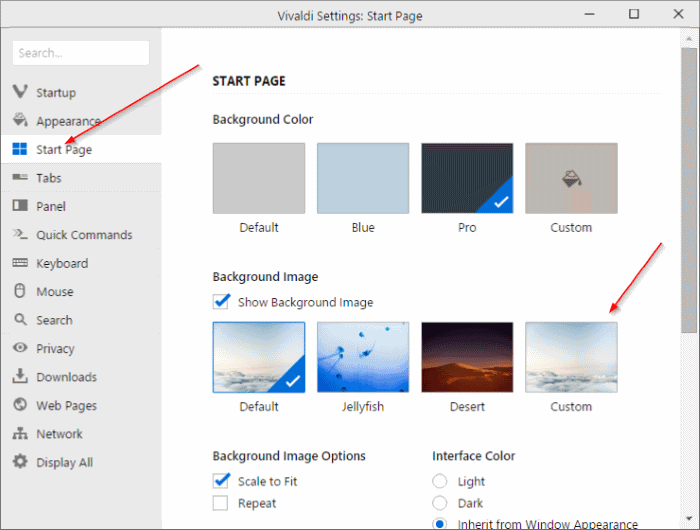 Change Vivaldi new tab page or start page background step2