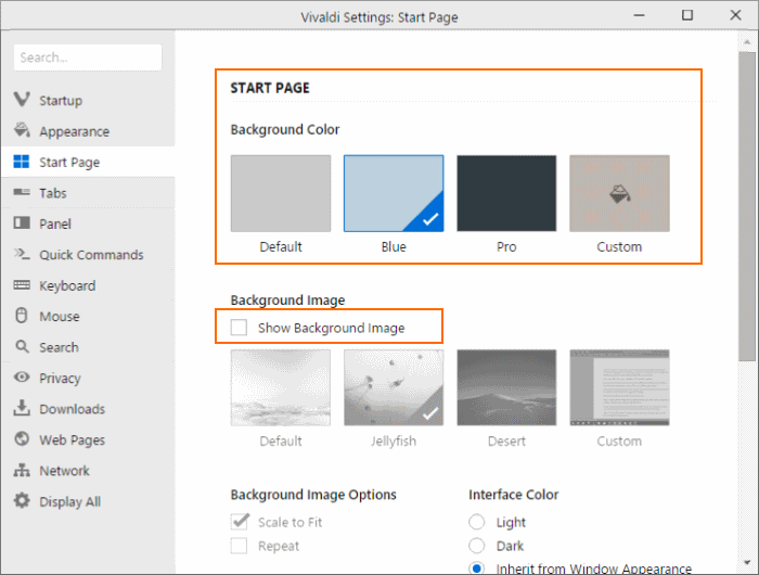 Change Vivaldi new tab page or start page background step4