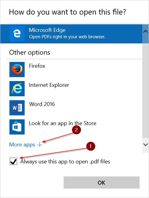 Change the default PDF reader in Windows 10 step2