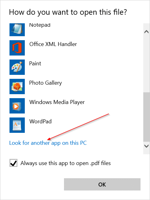 Change the default PDF reader in Windows 10 step3