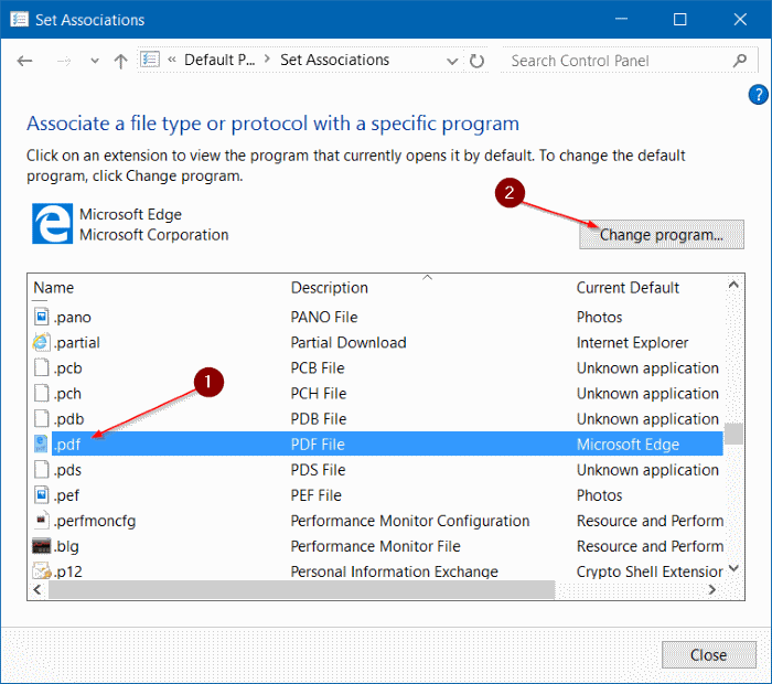 Change the default PDF reader in Windows 10 step7