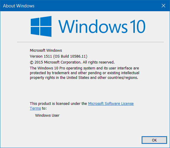 Check If Windows 10 November or Threshold 2 is installed pic1